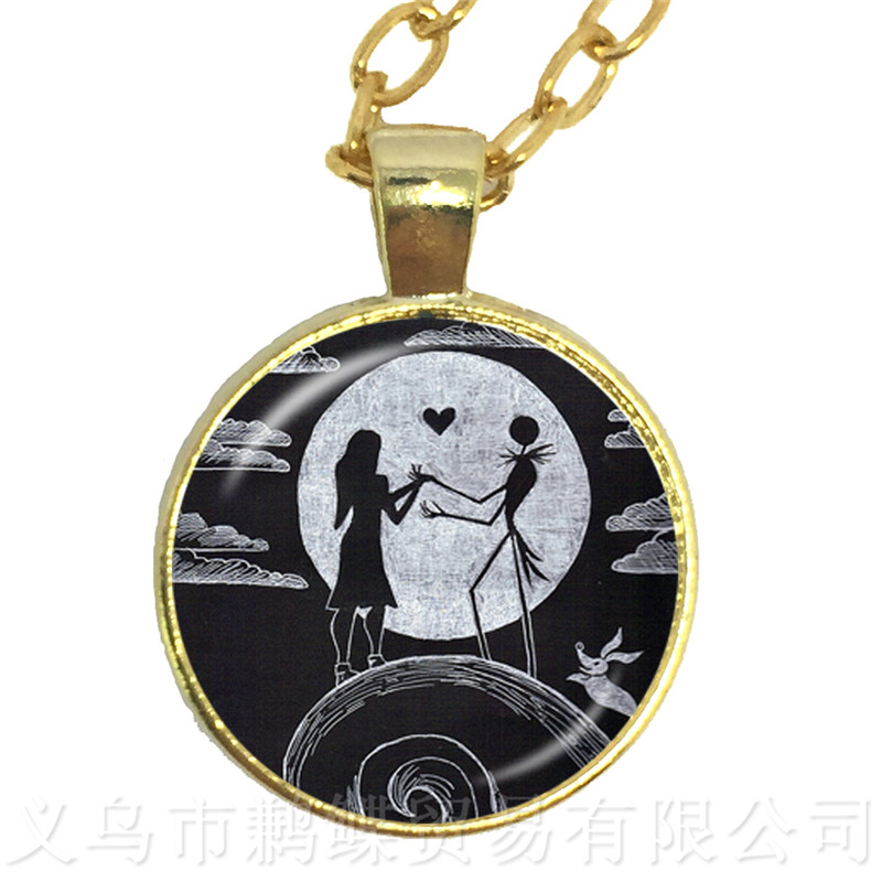 Palaeo Bronze The Jack Skellington And Sally 25MM Glass Cabochon Necklace Charms Halloween Party Jewelry Gift For Kids