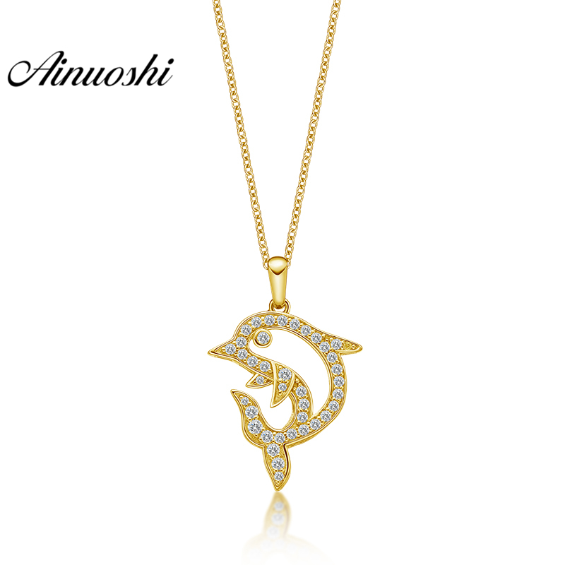 AINUOSHI 10K Solid Yellow Gold Pendant Hollow Dolphin Pendant SONA Diamond Women Men Jewelry Cute Dolphin 1.6g Separate Pendant 02 champagne