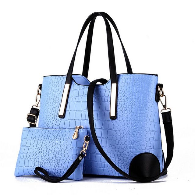 Women handbag leather hand bag crocodile shoulder messenger bags Women tote Bag + purse - Set of 2 2