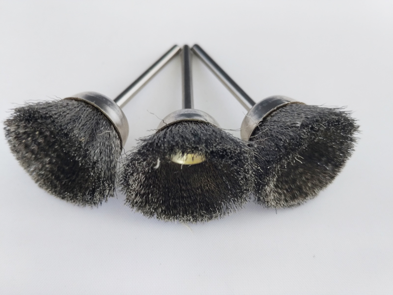 3PCS Steel Wire Wheel Brushes Cup-shaped with shank for Dremel Accessories For Rotary Tools 25mm diameter 16pc brass bristle wheel brushes for dremel accessories for rotary tools