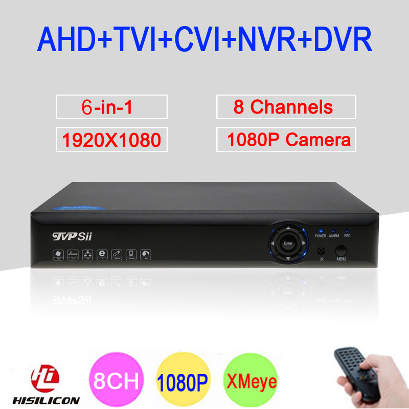 Blue-ray Xmeye Hi3521A 2MP CCTV Camera 1080P Full HD 8 Channel 8CH 6 in 1 Hybrid Coaxial TVI CVI IP NVR AHD DVR Free Shipping silver panel hi3521a 5 in 1 xmeye 4 channel 4ch 1080p 2mp 25fps realtime hybrid coaxial nvr tvi cvi ahd cctv dvr free shipping