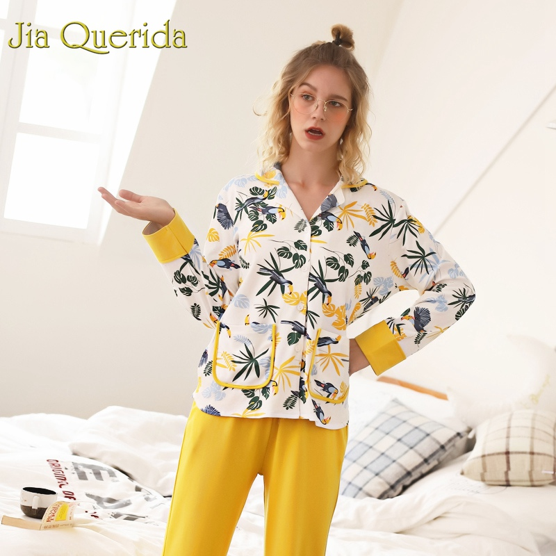 J Q Women s Two Piece Sleepwear 2019 Spring 100 Cotton Women Pijama Floral Caidigan Long