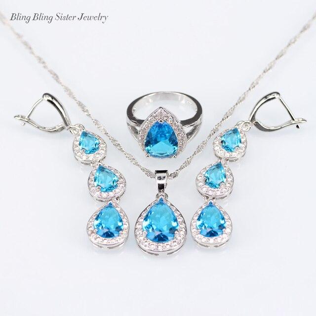 bf8921d76087 L   B gota cielo azul blanco creado granate color plata 925 logo joyería  Set para