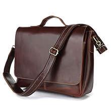Quality Genuine Leather Men Briefcase 14″ Laptop Business Portfolio Bag Cowhide Men's Messenger Bags Luxury Handbags #VP-J7108