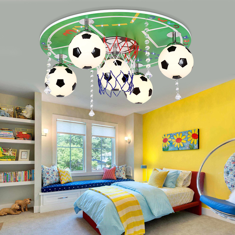 US $128.65 17% OFF|Modern Fashion Cartoon Children Bedroom Ceiling Lamp  Creative Study Light Personality Football Decoration Lamp Free Shipping-in  ...