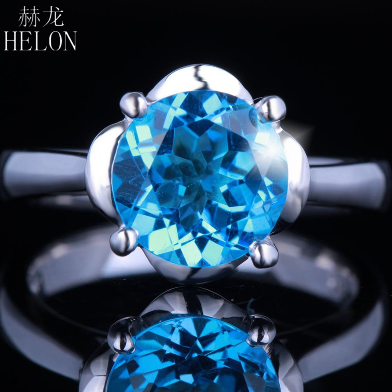 HELON Flawless 9mm Round Cut Blue Topaz Solid 14K White Gold Solitaire Engagement Elegant Lady Unique Wedding Ring Prong SettingHELON Flawless 9mm Round Cut Blue Topaz Solid 14K White Gold Solitaire Engagement Elegant Lady Unique Wedding Ring Prong Setting