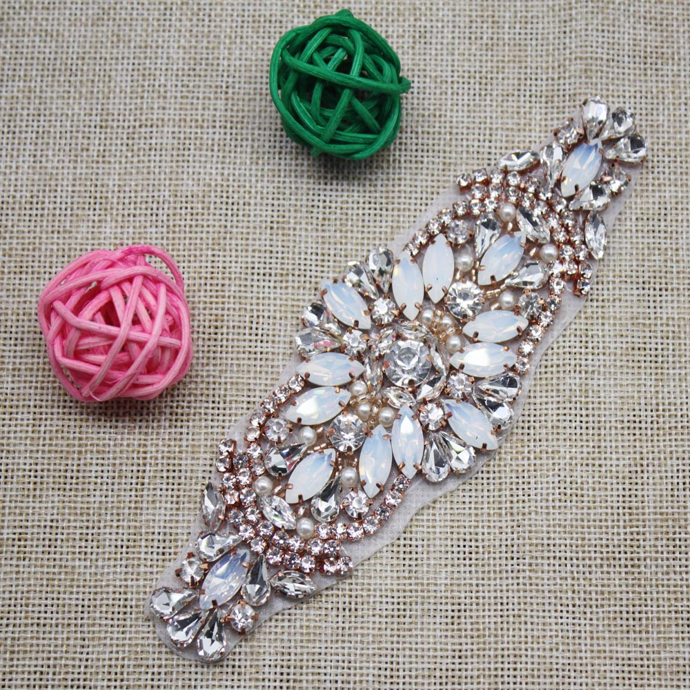 Handmade Hot Fix Rose Gold Rhinestones Applique Iron Sew On Bling Applique  for Headpieces Dresses Garters  dejorchicoco -in Hair Accessories from  Mother ... 291da20d4828