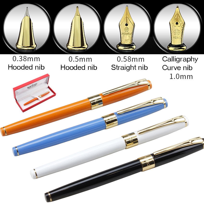 Calligraphy Curvde Nib / Straight Nib / Hooded Nib  Fountain Pen with gift box Original HERO 1506   FREE  SHIPPING fountain pen curved nib or straight nib to choose hero 6055 office and school calligraphy art pens free shipping