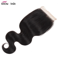 Ishow Hair Lace Closure Body Wave Indian Human Hair Free Middle Three Part 4*4 Swiss Lace Closure With Baby Hair Non Remy Hair