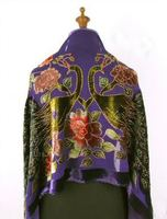 Navy Blue Chinese Women's 100% Silk Shawls Scarves Embroidery Velvet Beaded Pashmina Peacock Pattern Wrap Size176 x 68cm WS006