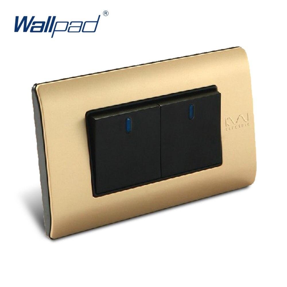 Free Shipping, Wallpad Luxury Wall Switch Panel, 2 Gang 2 Way Switch, Plug, Socket, 118*72mm, 10A, 110~250V  free shipping wallpad luxury wall switch panel 6 gang 2 way switch plug socket 197 72mm 10a 110 250v