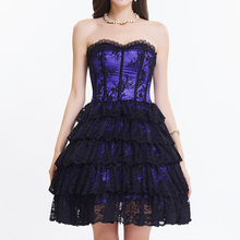 Purple Satin Black Floral Lace Ruffles Women Sexy Corset Dress Victorian Gothic Clothing Dresses Corselete Feminino Espartilhos