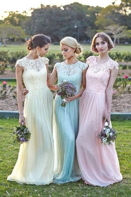 Elegant Fl Chiffon Lace With Short Sleeves Modest Long Pastel Bridesmaid Dress