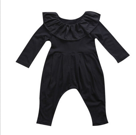 Autumn Baby Girl Clothing Newborn Infant Baby Girls Ruffle Collar Long Sleeve Black Romper Pants Clothes Outfits baby girl clothes autumn newborn baby girl clothes sets 3pcs suits top pants headband infant girls outfits baby wear clothing