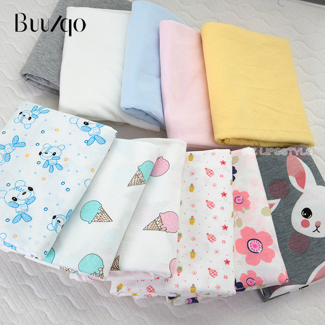 44f7d904805 Buulqo Baby cotton knitted fabric stretchy thin Printed cartoon jersey  fabric by half meter DIY baby clothing fabric 50x170cm