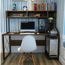 Louis Fashion Computer Desk Home Use Bookshelf Combination Simple Modern Double Notebook Table