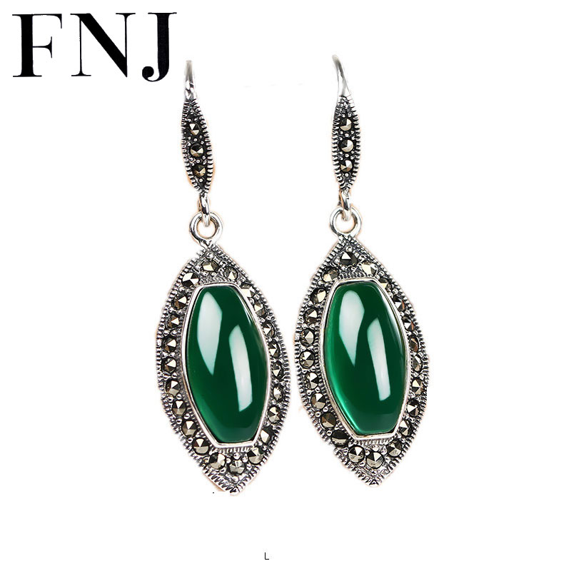 Drop Earrings Natural Green Black Stone 925 Silver Earring Fashion Red Zircon 100% S925 Sterling Silver boucle for Women Jewelry wholesale new fashion trendy 925 sterling silver zircon natural gemstone crystal green diopside pendant drop earrings for women