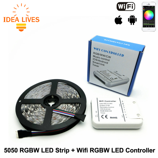 Smart Phone Wifi LED RGBW Controller + DC12V 5050 5m 60LED/m RGBW Flexible LED Strip Light set,1set/lot