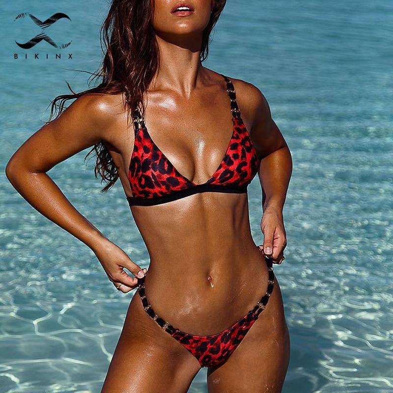 Bikinx Leopard Print Micro Bikini 2019 Summer Triangle Red Swimsuit Female Bathing Suit High Cut Sexy Swimwear Women Biquinis
