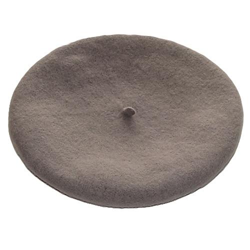 Одноцветный женский берет для девочек, французская художница, теплая шерстяная зимняя шапка, шапка 4XQT - Цвет: Серый