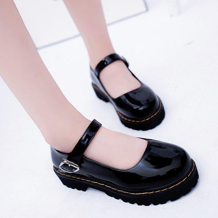 Femininos de Couro Baixos de Couro Curto e Solto de Dedo Redondo para Mulheres Sapatos Sintético