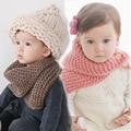 Os Recém-chegados Cor Sólida Do Bebê Das Meninas Dos Meninos Inverno Quente Knit Cowl Neck Scarf Shawl Marca New Drop Shipping