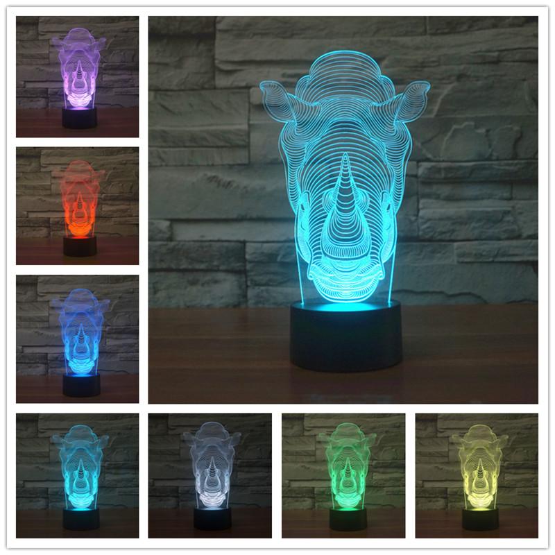 Rhino Bunte 3D Lichter LED Touch Schalter Stereo Vision Nachtlicht Tischlampen Fr Wohnzimmer Tischlampe