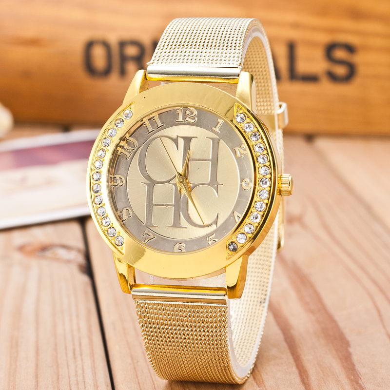 2018 New Luxury Brand Gold Crystal Casual Quartz Watch Women Metal Mesh Stainless Steel Dress Watches Relogio Feminino Clock Hot 2016 new brand gold geneva butterfly casual quartz watch women crystal stainless steel dress watches relogio feminino clock hot