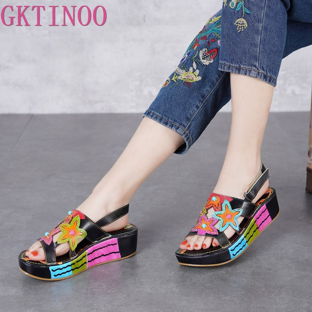 GKTINOO 2019 Platform Shoes Wedges Women Sandals Genuine Leather Open Toes Colorful Flower Lady Slingback Sandals