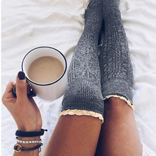 Women Winter Stockings College Crochet Knitted Lace Trim Knee-sockings Over the Knee Cotton Hosiery Long For Girl Lady