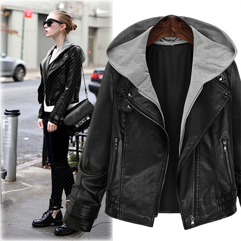 Female New Design Spring Autumn PU   Leather   Jacket Faux Soft   Leather   Coat Slim Black Rivet Zipper Hooded Motorcycle Jackets