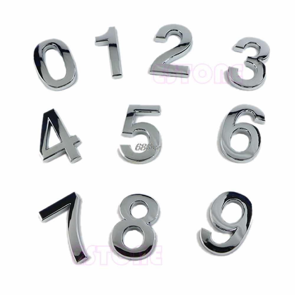 1pc Modern Silver House Hotel Door Address Plaque Number Digits Sticker Plate Sign Room Gate Number N24 Drop Ship
