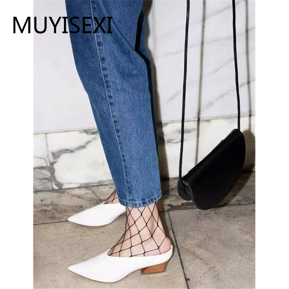 Mules Slippers Women Full Genuine Leather Pointed Toe 4 5cm Thick Heel Slippers Women Shoes Black