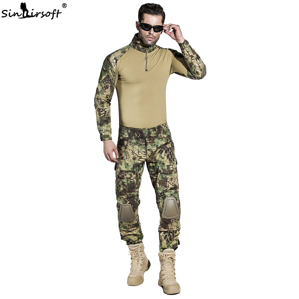 Military Tactical Suit Army Combat BDU Camouflage Hunting Men Uniform With Knee Pads Elbow Pads Airsof Paintball Shirt Pants 6 ml 12 colors professional acrylic paints set hand painted wall painting textile paint brightly colored art supplies free brush