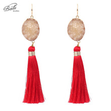 Badu Natural Stone Earrings Long Cotton Tassel Pendant Earring for Women Wedding Jewelry Ethnic Style Special Anniversary Gift