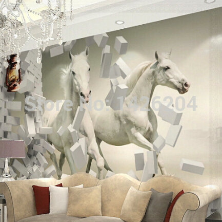 Great wall 3d white horse wall murals wallpaper3d horse custom wall paper murals for living room 3d wallpaper in wallpapers from home improvement on