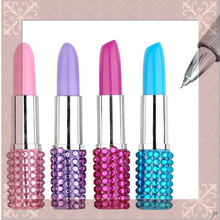 Cute Lipstick Shape Ballpoint Pen Diamond Pens Office School Supplies  Plastic Ball Pens Blue Iin For Writing Stationery Gift 1pcs flexible ball pen cute soft plastic bangle bracelet ballpoint pens school office gifts