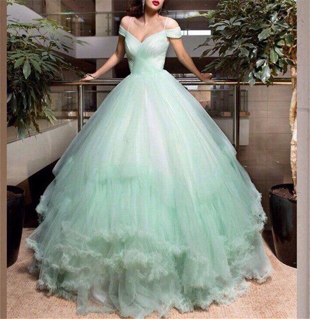 Spaghetti trägern Mint Green Tulle Frühjahr/Sommer Hochzeit Kleid ...