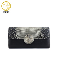 Pmsix 2016 Crocodile Long Leather Wallet Fashion Womens Wallets And Purses Black Ladies Designer Wallets P420056