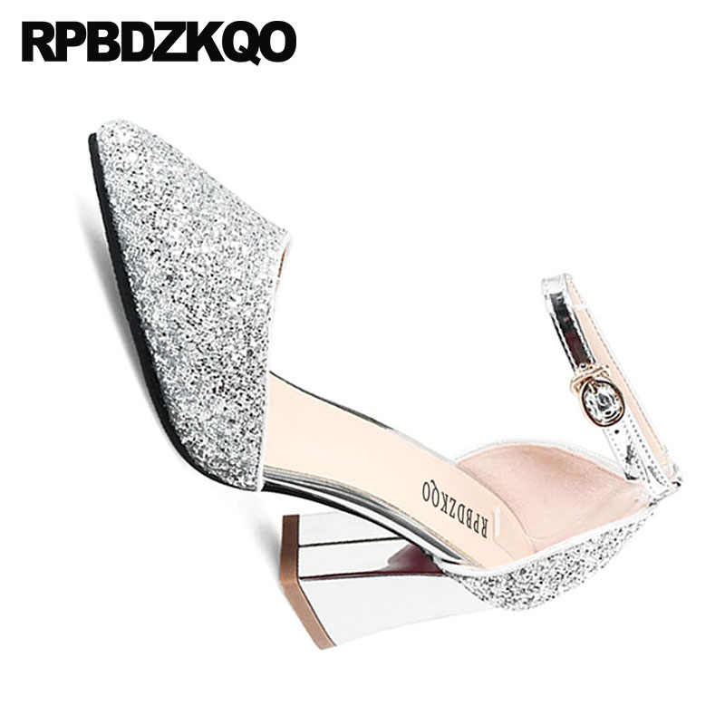 ... pumps silver high heels sandals 3 inch party shoes for women 2018 dress thick  pointed toe 17100d48e0f0