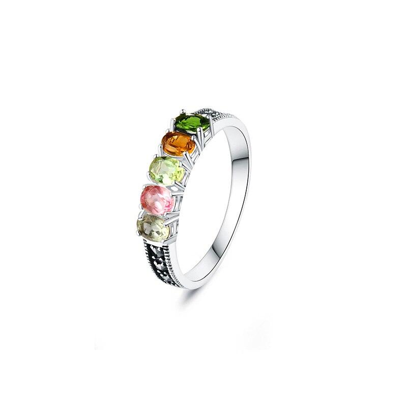 Authentique 925 bague en argent avec Tourmaline naturelle pierre colorée femmes anneaux élégant Bijoux fins Bijoux - 6