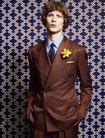 FOLOBE חום הקלאסי custom made סגנון נטלמן טרייל חליפת גברים זוגי חזה slim fit חליפות חתונה לגברים