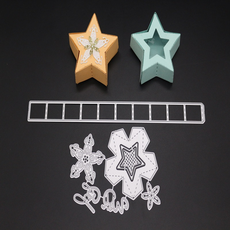 Glita Creatif 3D box star cutting dies for scrapbooking paper craft supply room decoration kids fun metal stencil template tool