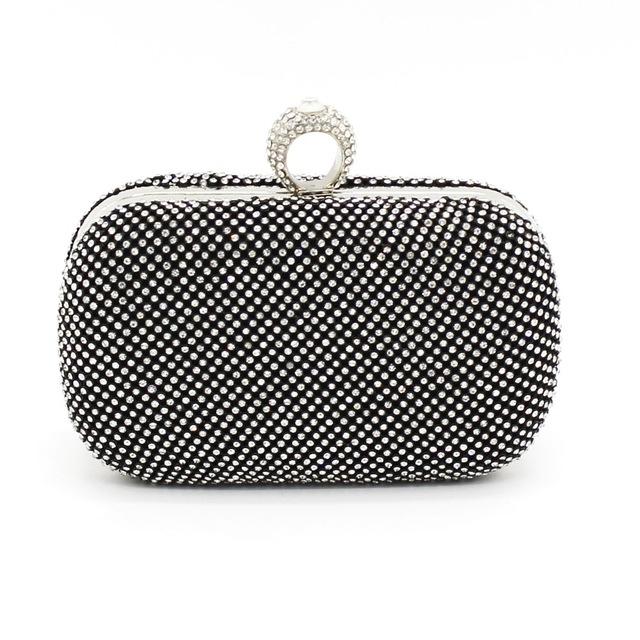 KEENICI Rhinestones Women Clutch Bags Diamonds Finger Ring Evening Bags for Lady Crystal Wedding Bridal Handbags Purse Holder