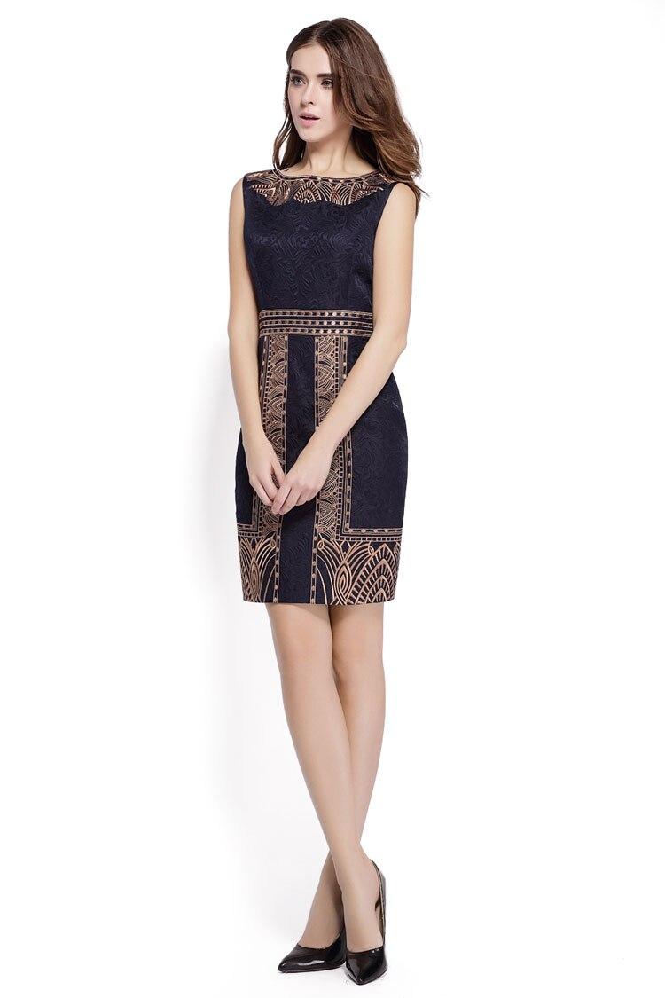 Embroidery Print Sleeveless Slim Waist Office Dress 5