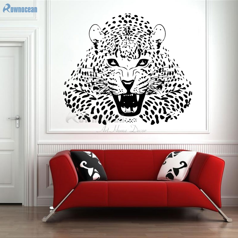 ROWNOCEAN Animal Design Leopard Home Decor Wall Stickers Living Romm Vinyl  Wall Decals Removable Mural Cat DIY Wallpaper D595