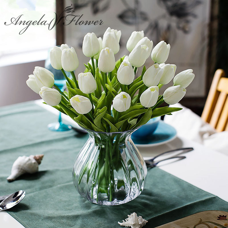 Free shipping 31PCS\/LOT pu mini tulip flower real touch wedding flower artificial flower silk