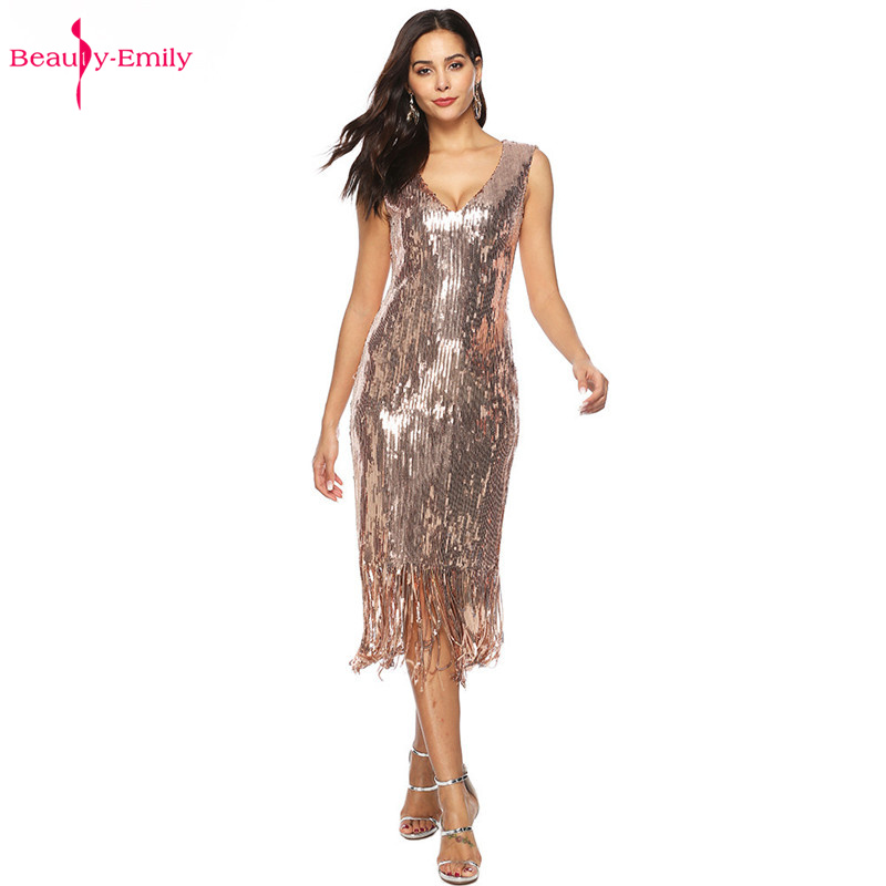 Beauty Emily Sexy Long V Neck   Evening     Dresses   Summer Sleeveless Sequins Tassel Party   Dresses   Elegant Formal Occasions Prom Gowns