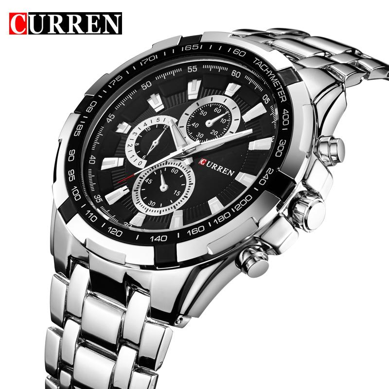 Prix pour Curren Top Marque De Luxe Hommes Horloge À Quartz Homme Militaire de Sport Montres Hommes En Acier Plein Montre-Bracelet Étanche Relogio Masculino