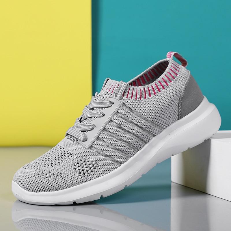 Running Shoes Women Sneakers Gray Mesh